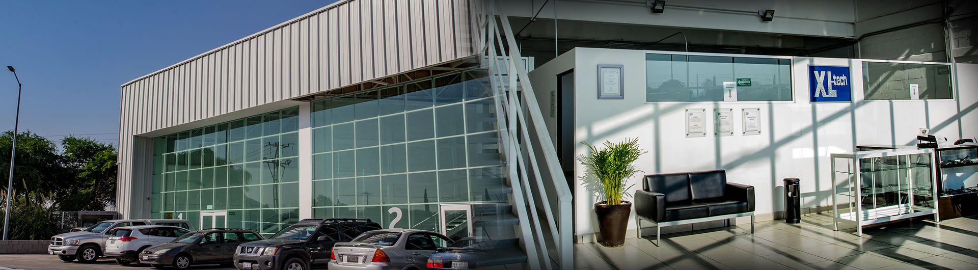 Building exterior and lobby interior